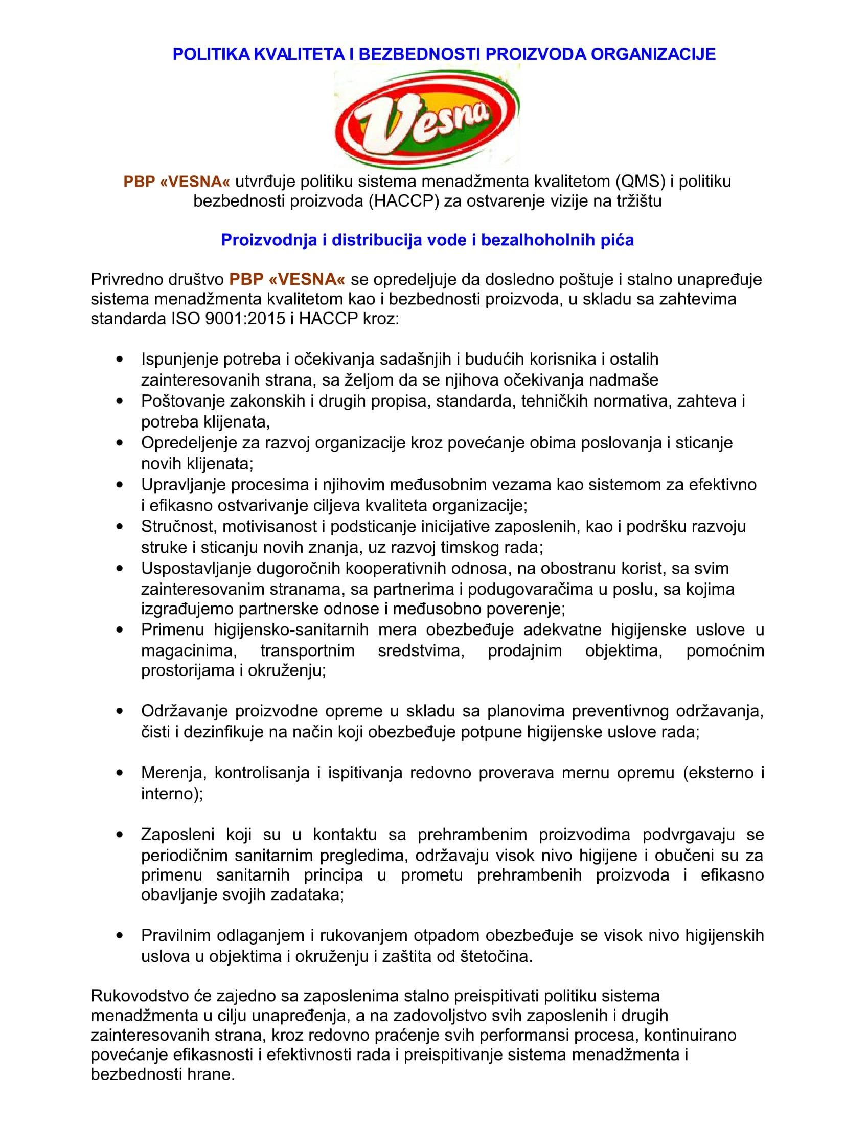 ОB-3.1-01 Politika kvaliteta QMS I HACCP[7991]-1